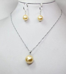$enCountryForm.capitalKeyWord Australia - Jewelry Set Silver hook>Rare Real Round Yellow South Sea Shell Pearl Pendant Necklace Earrings A Set