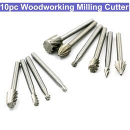 Drilling Cutter Australia - 10pcs Wood Carving Milling Cutter Set HSS Routing Router Bits Burr Milling Cutter For Dremel And Rotary Engraving Machine Tools