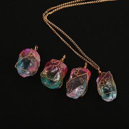 $enCountryForm.capitalKeyWord Australia - Natural Stone Necklaces Women Pendant Colorful Drop Sweater Chain Crystal Charm Necklace Gemstone Jewelry Wholesale Female Jewellery