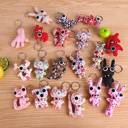 amazing keychains UK - Amazing Korean fashion cotton doll cute Stuffed Animals pendant 10-14cm handmade cartoon Plush Keychains Plush Pendant kids toys
