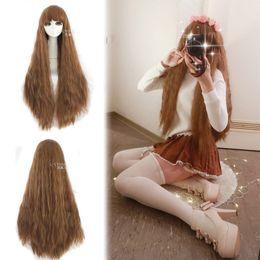 Lolita Curly Wigs Australia - Lolita Harajuku Rhapsody Long brown Curly Wavy Hair Cosplay Wigs Free Wig Cap