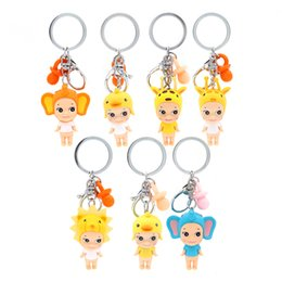 plastic lions NZ - Sonny Angel Mini Cute animal Series duck lion deer elephant Nipple Figures Keychains Collectible Model Toys Kawaii Dolls Keyring