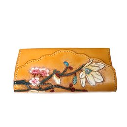 leather carved wallets UK - Handmade carving Yulan Magnolia Women Wallets Card Holder Purses Long Clutch Vegetable Tanned Leather New Year Gift Q1912
