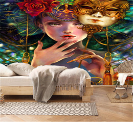 $enCountryForm.capitalKeyWord NZ - Custom Any Size 3D WallpaperAbstract Mask, Beautiful Girl, Oil Painting Living Room TV Background Bound Wall Painting Wallpaper