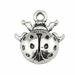 Ladybug Charms UK - 100pcs Charm Ladybug Insect Ladybug Pendant Charms For Jewelry Making Antique Silver Ladybug Charms 14x16mm