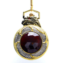 $enCountryForm.capitalKeyWord Australia - Red Garnet Inset Gold Tone Cover Pocket Watch Luxury Evil Dragon Black Dial Quartz Clock Vintage Gemstone Pendant with Gift