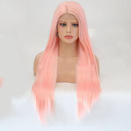 $enCountryForm.capitalKeyWord Australia - Wig Ma'am Original Old Pink Colour In Long Straight Hair Front Lace Chemical Fibre Hair Headgear