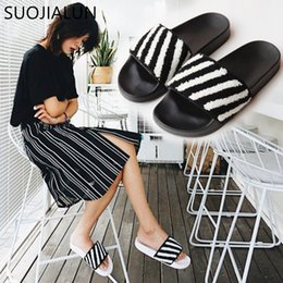 Discount fluffy slippers - SUOJIALUN New 2018 Casual Shoes Women Sandals Fluffy Faux Fur Slipper Slip On Flip Flop Slides Womens Slippers Zapatos M