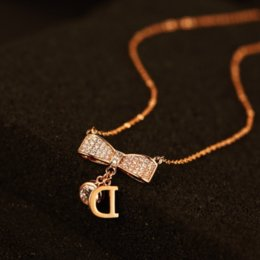 Letter D Pendant Australia - High quality rose gold plated pendants&necklaces for women rhinestone bowknot necklace letter D N00059