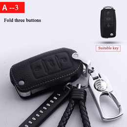 Wholesale Titanium alloy leather car key cover case for Volkswagen polo passat golf jetta tiguan Gol CrossFox Plus Beetle car styling