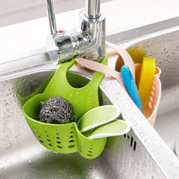 Gadget Shelf Australia - Kitchen Hanging Drain Basket Organizer Adjustable Buckle Sink Holder Shelf Gadget Storage Bag Shelving Rack Faucet Storage Gadget Tool