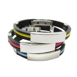 $enCountryForm.capitalKeyWord UK - Stainless steel Silicone bracelet For women Men Sport Titanium steel 10 colors Wrap Bangle Fashion Jewelry Gift