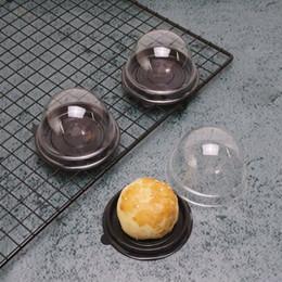 Cake Size Cupcake Australia - 100pcs=50sets Mini Size Plastic Cupcake Cake Dome Favor Boxes Container Cake Box Wedding Favors Boxes Supplies DHL Free
