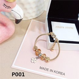 gold pans NZ - Wholesale-Pan style transfer bead bracelet female student crystal bracelet female rose gold bee hive bracelet