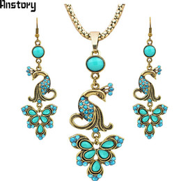 Fantastic Earrings Australia - necklace crystal Vintage Jewerly set Tibet Alloy Antique Sliver Plated Fantastic Crystal Peacock Pendant Dangle Earrings Necklace TS262