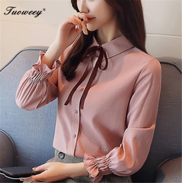 2b3dbdd4d3f2 2019 New summer elegant bow tie bow shirt women OL new formal short sleeve  chiffon blouse office ladies plus size work slim tops