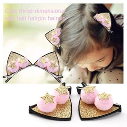 Kids Hair Clips Pink Australia - 4colors Hair Clips Cute Sequins 3D Stars Ball Hair Clips Kids Girls Shiny Hairpins Children Glitter Party Headwear Gift