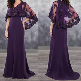 winter wedding dresses mother bride UK - 2020 Dark Purple Mother of the Bride Dresses with Bolero Lace Wedding Guest Party Wear Vintage Evening Dress