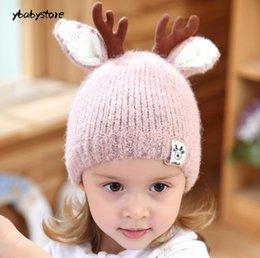 64290c43ef9 Autumn and winter Baby protect Ear Children Cartoon deer horn thickening  warm cap Red Black Pink Gray Beige Baby Woolen hat 2pcs lot