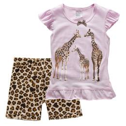 Watermelon Color T Shirts Australia - Giraffe Baby Girls 2-Pieces Clothes Suits Summer Children Pajamas Sets Leopard Girl T-Shirt Short Pants Cotton Blouses Outfits Tee Shirts
