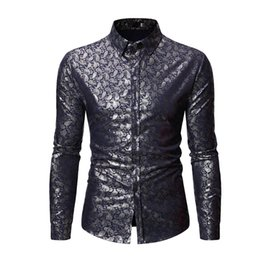Discount stamp shirt men - CYXZFTROFL High Quality Men Shirt Brand Fashion Casual Slim Hot Stamping Long Sleeve Shirt Men Business Social Top Cloth
