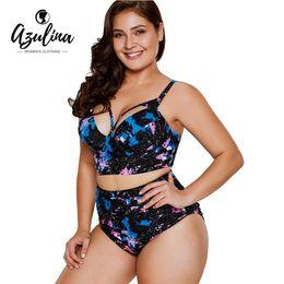 409b5a2b1 AZULINA Plus Size Cut Out Galaxy Print Bikini 2019 Underwire Swimwear Women  High Waist Bikini Push Up Triangle Swimsuit Biquini