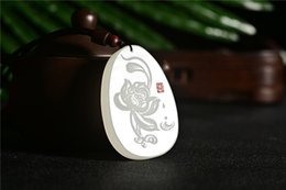 $enCountryForm.capitalKeyWord Australia - Natural White Hand-carved Chinese Hetian Jade Flower Pendant + Rope Necklace