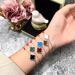 identification bracelets Canada - Fashion Four Leaf Clover Silver Blue Turquoise 1 Flower Bracelet for Women Lovers Day Gift Classic Designer Brand Jewelry for Women