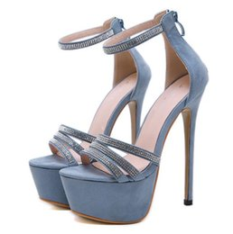 $enCountryForm.capitalKeyWord Australia - 16cm Ultra high heel glitter rhinestone ankle strappy platform pumps luxury women designer high heel shoes 3 colors size 34 to 40