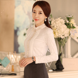 f9b147733ad9 Fashion-Discount Woman Blouses 2018 Chiffon Blouse Shirts Autumn and Winter  Korean Doll Collar Long Sleeve Lace Hollow Out Shirt Clothes