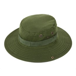 military hat wholesale Canada - Bucket Hat Hunting Fishing Outdoor Wide Cap Brim Military Unisex Cuddly Army Green