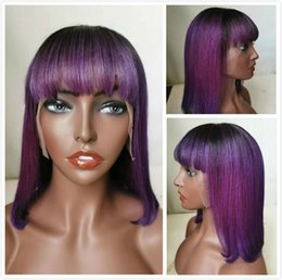bob hair cut bangs black women Australia - Colored Purple Short Lace Front Wigs Pixie Cut Human Hair Malaysian Straight Bob Wig With Bangs For Black Women Glueless Closure Ombre Wig