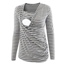 womens winter clothes NZ - Clothes Pregnancy Womens Clothing Women's Stripe Ruched Side-shirred Nursing Top Long Sleeve Breastfeeding Shirt Pergnancy