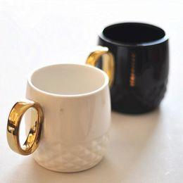 $enCountryForm.capitalKeyWord Australia - 300ML Luxury Ceramic Cup Creative Couple Coffee Mug Fashion Black White Milk Tumbler With Gold Plating Handle 10 Pieces DHL