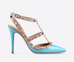 $enCountryForm.capitalKeyWord Australia - 2019 Hot Sale-Designer Pointed Toe 2-Strap with Studs high heels Patent Leather rivets Sandals Women Shoes valentine high heel Shoes