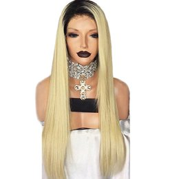 synthetic fiber lace wigs UK - Free Shiiping Hot Style Ombre Blonde Long Silky Straight Wigs High Temperature Fiber Hair 1b 613 Synthetic Lace Front Wigs With Baby Hair