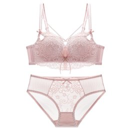 fdfa17ab7c93e Women s Underwear High Quality Lady Sexy Lace Lingerie Babydoll Thong  Sleepwear Brief G-string + Non Underwire push up Bra Set 4 colors