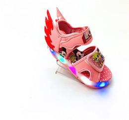 $enCountryForm.capitalKeyWord UK - DHLFREE 5set lot LED Sandals Summer boys girls sandals Hook & Loop wing beach shoes cartoon doll Light Baby Shoes