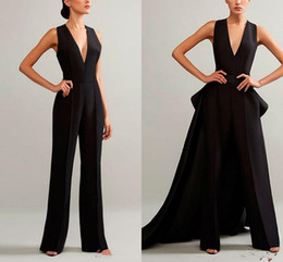 Sexy red Short pantS jumpSuit online shopping - 2020 Ashi Studio Black Evening Jumpsuits With Detachable Skirt V Neck Prom Gowns Cheap Plus Women Formal Pant suit