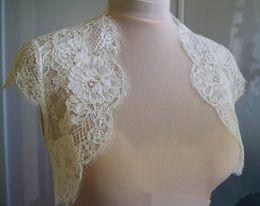 $enCountryForm.capitalKeyWord Australia - Ivory Lace Wedding Shawls With Cap Sleeves Bridal Bolero Custom Made Wedding Wraps Shrugs For Dress Cape
