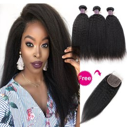 $enCountryForm.capitalKeyWord Australia - Buy 3Bundles Get A Free Closure Deep Loose Brazilian Human Hair Bundles Loose Wave Yaki Straight Deep Curly Body Water Wave Straight
