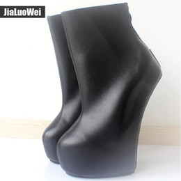 $enCountryForm.capitalKeyWord Australia - 20cm High Heel 5cm Platform Sexy Fetish Hoof Heelless strange style Sole ponying Back zip Fashion Ankle Ballet Boots Man cosplay shoes