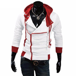 Wholesale creed clothing for sale – custom Men Side zipper Patchwork Hoodies Male Casual Assasins Creed Clothing Mens hooded Hoodies and Sweatshirts Sudadera Hombre