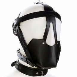 $enCountryForm.capitalKeyWord UK - Fetish Mouth Gag Headgear Pu Leather Mask Hood Head Bondage Restraint Harness Adult Sm Costume Sex Game Toy For Women Men Couple Y190716