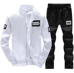 White Velour Suit Australia - Men Sportswear Hoodie And Sweatshirts Black White Autumn Winter Jogger Sporting Suit Mens Sweat Suits Tracksuits Set Plus Size M-4XL 418-30