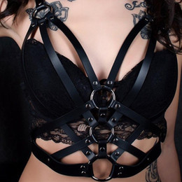 $enCountryForm.capitalKeyWord Australia - 2019 Sexy Black Leather Bra Women Punk Gothic Bra Lady Clubwear Leather Harness Belt Body Bondage Top Chest Straps