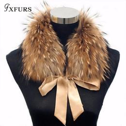 Purple Fur Scarf Australia - FXFURS 2018 Fashion Fur Scarf Real Raccoon Dog Fur Collars with Ribbon Real Fur Stole for Wool Coats 48CM D19011004