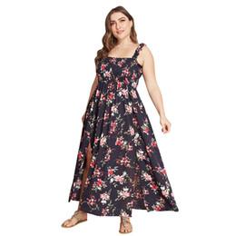 Venta al por mayor de Estilo boho vestido largo más el tamaño XL-4XL Mujeres fuera del hombro Playa Verano Vestidos de dama Estampado floral Vintage Maxi vestido Vestidos J190550