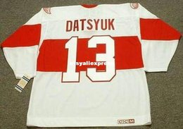 pavel datsyuk jersey cheap Australia - custom Mens PAVEL DATSYUK Detroit Red Wings 1920's CCM Jerseys Vintage Cheap Retro Hockey Jersey