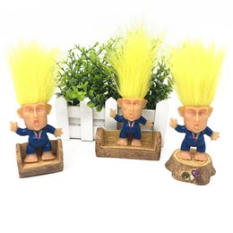 dolls action 2019 - 6CM Trump 2020 Dolls Action Magic Hair Doll Long Hair Suit Clothes Troll Doll Leprechauns Electioneering President Donal